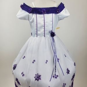 New Girls Purple and White Party Dress sz 7